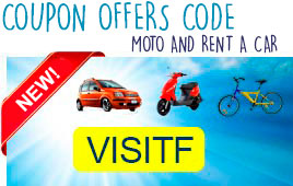 2016 discount offers and Formentera car hire, scooters, motorcycles, quads and bikes in Formentera. Discount coupon - coupon code: VISITF